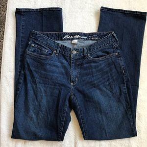 Eddie Bauer curvy boot cut jeans, dark wash